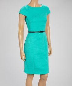 Look at this #zulilyfind! Jade Belted Cap-Sleeve Dress by Donna Rae #zulilyfinds