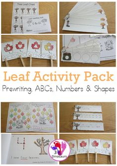 Leaf Activities Pack: Prewriting Shapes, ABCs & Numbers with no-prep pages, easy reader books, clip cards and tracing strips.- 3Dinosaurs.com #prewriting #finemotor #prek #kindergarten #numbers #shapes #easyreaderbooks #noprep #tracingstrips