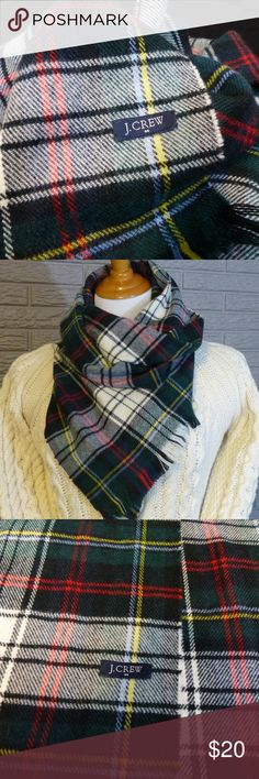 J.CREW Plaid Scarf Warm and cozy scarf from J. Crew in soft acrylic. Excellent condition.  Wash on delicate cycle and hang to dry. J. Crew Accessories Scarves & Wraps