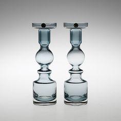 NANNY STILL - Candleholders for Riihimäen Lasi Oy, Finland.   [h. 22 cm] Retro Art, Retro Vintage, Glass Design, Design Art, Scandinavian Design, Candlesticks, Finland, Modern Contemporary, Glass Art