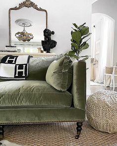 Living Room Green, Cozy Living Rooms, Living Room Chairs, Living Room Decor, Living Spaces, Green Velvet Sofa, Sofa Styling, Interior Exterior, Kings Lane