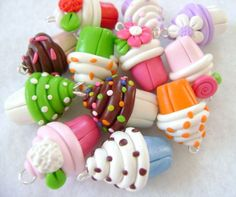 Colorful Polymer Clay Cupcake Charms by Emariecreations on Etsy