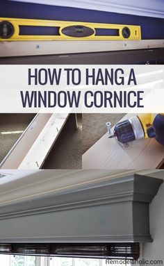 How to build and hang a solid wood DIY window cornice to hide curtain rods and blind hardware. Full detailed photo tutorial, with tips for cutting crown molding for this wood window valance box. Window Valance Box, Wooden Valance, Wood Valances For Windows, Cornice Box, Wooden Windows, Window Coverings, Window Treatments, Cornice Boards, Room Window