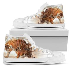 Tiger & Cub in Snowy Woods Women's High Tops Top Shoes, Men's Shoes, Snowy Woods, Mens High Tops, Tiger Cub, Snug Fit, Tigers, Cubs, High Top Sneakers
