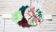 Eight Tiny Reindeer- headband in cream, teal, deep red/maroon, lime green and celery green by SoTweetDesigns