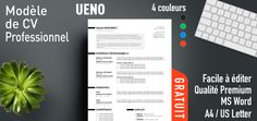 Ueno is a free professional resume template with a bright and clean style. Fully & easily editable with MS Word. Free Professional Resume Template, Resume Template Free, Free Resume, Cv Curriculum Vitae, Microsoft Word Free, Resume Words, Sample Resume, Language, Lettering