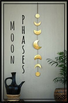 I love this!! I want this for my meditation and yoga room. #ad #affiliate #etsy #meditation #meditationdecor #yogadecor #zen #interiordecor #wallart #moon #moondecor #moonphases #metallic #mobile #lunar #lunarfhases #obypinners