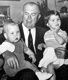 Albert and Caroline with their grandfather John B. Kelly, Sr., 1959.