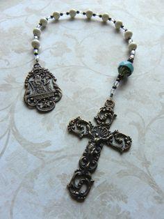 St. Anne Catholic Pocket Rosary Chaplet in Ivory Swarovski Pearl Blue Czech Glass Antique Bronze