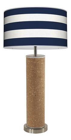 Love this lamp! Cork is so on trend and the cabana stripes are so chic!