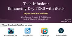 Tech Infusion: Enhancing K-5 TEKS with iPads By: Suzanne Crawford, Todd Kranz, Suzie Williams,& Nicole Zwahr Katy ISD February, 2015 Please download the following apps: Educreations Popplet Lite ChatterPix Kids Pic Collage tinyurl. com/ ti-k5-tcea15 while people are entering and getting settled: We