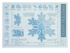 Snowflake Blueprint Greeting Card © 2013 Nick Fasnacht www.nickfasnacht.com