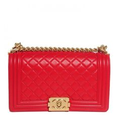 71b866d2fc15 CHANEL Lambskin Boy Medium Flap Red NEW ❤ liked on Polyvore featuring bags,  handbags,