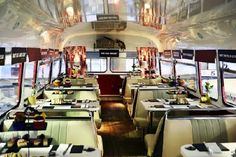 Tour round Glasgow on a vintage double decker bus with a festive afternoon tea, gin cocktails and a full Christmas dinner - this is insane! Bus Restaurant, Restaurant Ideas, Cosy Cafe, Best Afternoon Tea, Coffee Truck, Red Bus, Glasgow, Coffee Shop, Traditional