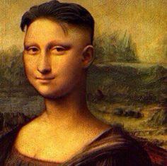 Mona Lisa with short hair art Mona Friends, Mona Lisa Parody, Virtual Art, Italian Artist, Photo Online, Cute Pictures, Panda, Art Gallery, Photoshop