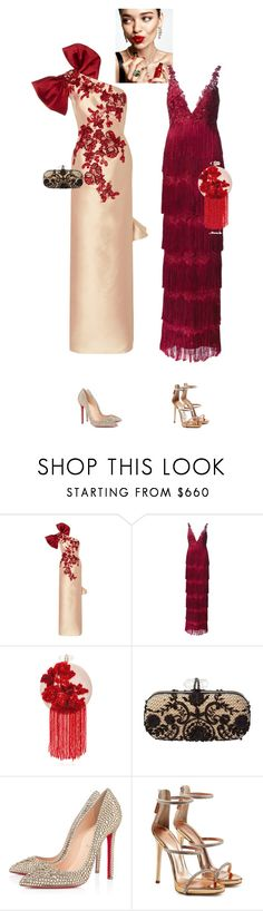 """""""Fiorentina & Marisa #9665"""" by canlui ❤ liked on Polyvore featuring KAROLINA, Marchesa, Notte by Marchesa, Christian Louboutin and Giuseppe Zanotti"""