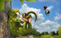 Chameleon vs Fly HD Wallpaper