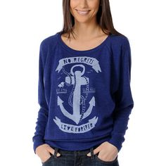 This Anchors Away Navy Boyfriend pullover (Glamour Kills) is loose fitting enough to hid a gun behind your hip.