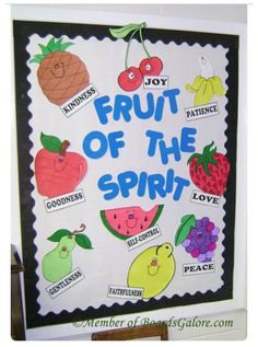 Fruits of the spirit bible bulletin boards, classroom bulletin boards, bulletin board ideas for Bible Bulletin Boards, Christian Bulletin Boards, Bulletin Board Ideas For Church, Preschool Bulletin Boards, Sunday School Rooms, Sunday School Classroom, Preschool Sunday School Lessons, Sunday School Crafts For Kids, Classroom Rules