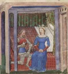 Bibliothèque nationale de France, Français 343, f.8r (Lancelot and Guinevere). La Quête du Saint Graal et la Mort d'Arthus. 14th century.