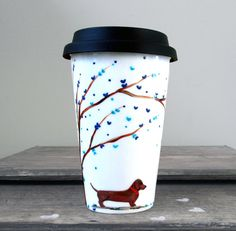 Dachshund Love : Hand Painted Porcelain Travel Mug by v2vozart