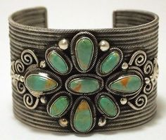 Old Pawn Navajo Green Fox Turquoise Sterling Cuff Bracelet - Loranzo James