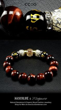 26ddc2e802 Cool and Trendy Man Beads! Unique Fashion Jewelry for Men - Rutilated red  tiger s eyes black onyx and hand carved Om Mani Padme Hung beads bracelet  ...