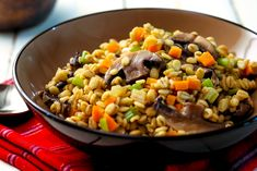 """Risotto is a traditional rice-based Italian staple belonging to the """"first"""" courses or primo piatto. Although rice was already known to the ancient Romans it was used by them solely for medical purposes. Vegetarian Salad Recipes, Lunch Recipes, Eating Healthy, Healthy Food, Healthy Recipes, Simply Recipes, Dairy Free Recipes, Barley Risotto, Delicious Dinner Recipes"""