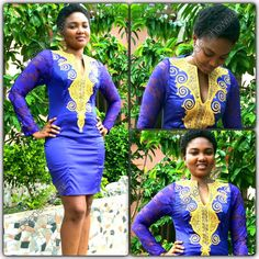 Odeneho Wear Ladies Blue Polished Cotton Dress With Gold Embroidery Design And Lace..