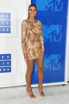 Heidi Klum in a Gold Sequined Mini - Best Dressed at the 2016 MTV VMAs - Photos