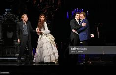 Lord Andrew Lloyd Webber, Celinde Schoenmaker, Nadim Naaman and Michael Ball perform onstage at 'The Phantom Of The Opera' 30th anniversary charity gala performance in aid of The Music in Secondary Schools Trust at Her Majesty's Theatre on October 10, 2016 in London, England.