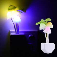 romantique color led 110 220 v 3 led champignon night light chambre lampe de la - Lumire Colore