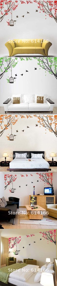 Beautiful Tree Bird Cage Wall Sticker Wall Decal Vinyl Mural Home Decoration Wall paper Wall Poster (190*65CM) $15.99