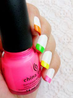 Neon    China Glaze Pink voltage n°70291 - China Glaze Sun Kissed n°80444 - Essie Blanc - Mini Bourjois Anniversaire 1879 - Mini Bourjois Vacances à Hawaii n°68