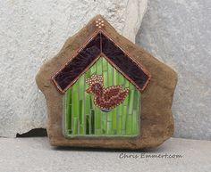 Mosaic Bird House Garden Stone
