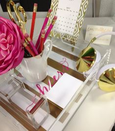 Gold Desk Accessories -love the lucite and gold with the navy office