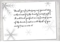 Thank You Note Template Snowflake Card Winter