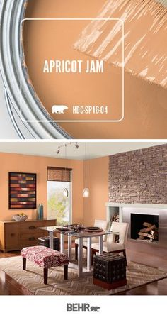 With spring on the way, it's time to introduce some much-needed color into the interior design of your home. Get inspired by the pastel hue of Apricot Jam by Behr Paint. This warm orange shade looks b Orange Paint Colors, Behr Paint Colors, Room Paint Colors, Orange Walls, Paint Colors For Home, Living Room Colors, Living Room Paint, Bedroom Colors, House Colors