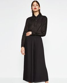 Image 1 of FINE PLEATED CROPPED TROUSERS from Zara