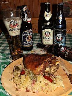 Katalin konyhája: Bajor sörös csülök, bajor káposztával - LVK 4. forduló - Németország Hungarian Recipes, Hungarian Food, Cod Fish, Food And Drink, Chicken, Meat, Baking, Drinks, Cod