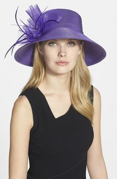 Free shipping and returns on August Hat 'Dahlia' Downbrim Hat at Nordstrom.com. A gorgeous amethyst hue makes this downbrim hat a standout, while a sculptural bow and crisp tonal feathers add head-turning flourish.