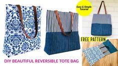 DIY BAG/TOTE BAG/REVERSIBLE BAG/SEWING BAG PATTERN/Sewing Tutorial/SHOPPING BAG/เย็บกระเป๋าง่ายๆ - YouTube Diy Jeans Bag Tutorial, Tote Tutorial, Reversible Tote Bag, Diy Tote Bag, Bag Patterns To Sew, Sewing Patterns, Sewing Tutorials, Bag Tutorials, Sewing Projects