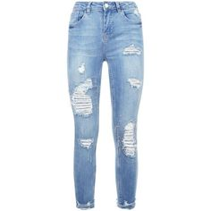 Petite Blue Chain Embellished Ripped Skinny Jeans ($70) ❤ liked on Polyvore featuring jeans, embellished jeans, ripped jeans, blue distressed jeans, denim skinny jeans and destroyed jeans