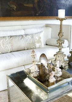 gORGEOUS PILLOWS AND TRAY OF THINGS ON THE TABLE/CANDLESTICK.......ZsaZsa Bellagio – Like No Other: At Home & Elegant