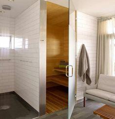 Un sauna pour une salle de bains design