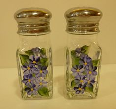 Hand Painted Salt and Pepper Shakers Blue by bunnyhutchdesigns, $12.00