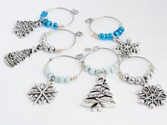 Items similar to Beaded wine charms - Christmas wine charms - snowflake charms - Christmas charms Festive wine charms Xmas wine charms - holiday wine charms on Etsy Christmas Wine, Silver Christmas, Wine Glass Charms, Silver Beads, Blue And Silver, Antique Silver, Snowflakes, Charmed, Ring Holders