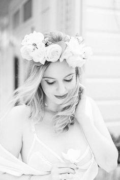 Boudoir Outside, Flower Crown, Black and White. Fine Art Women's Portraiture Photography By Novella.