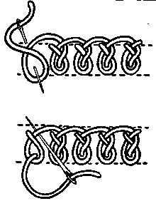 Rosette chain as a line stitch - ANNE WANNER'S Textiles in History / vocabulary 4