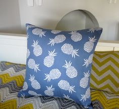 Pineapple cushion cover pineapple pillow blue cushion blue pillow fruit cushion fruit pillow tropical cushion decorative pillows. $29,95, via Etsy.